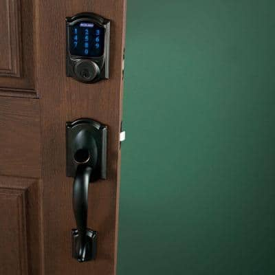 Camelot Aged Bronze Connect Z-Wave Plus Smart Deadbolt and Camelot Handleset with Accent Lever with Camelot Trim