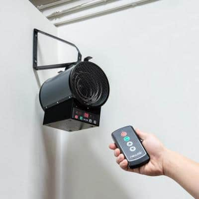 2-In-1 Electric Freestanding or Ceiling / Wall Mounted 240v Electric Garage Heater for 500 sq. ft. w/ Remote - Cool Grey