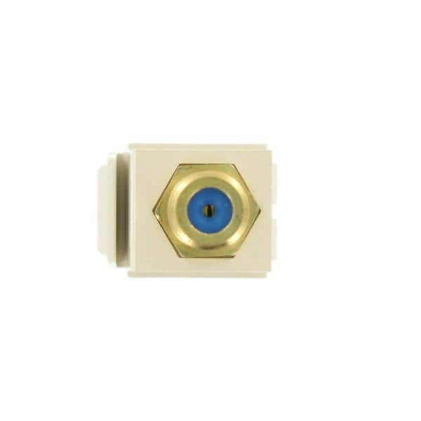 Leviton Quickport F Type Gold Plated Connector Female Female In Light Almond 40831 Ftg The Home Depot