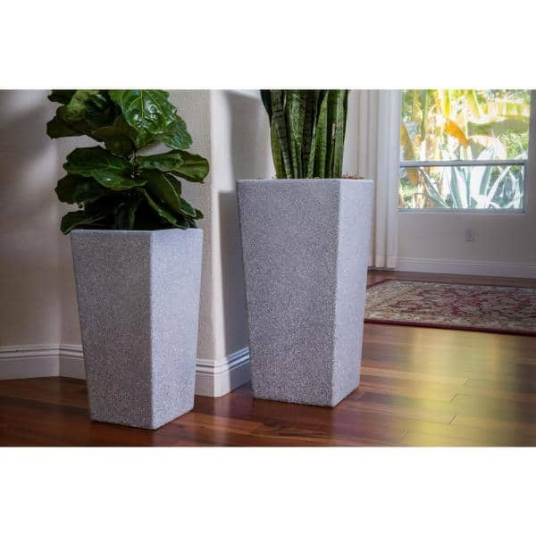 X Brand Xbrand 29 In Tall And 24 In Tall Grey Modern Nested Square Flower Concrete Pot Planter Set Of 2 Different Sizes Pl2915gr The Home Depot