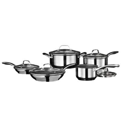 10-Piece Stainless Steel Nonstick Cookware Set with Lids
