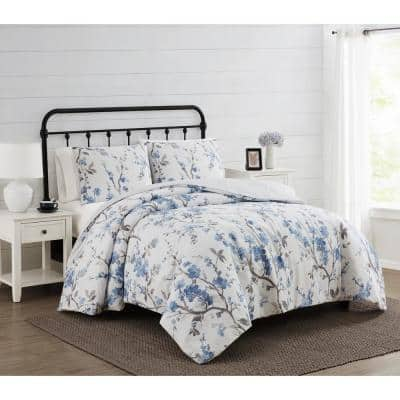 Kasumi 3-Piece White and Blue Floral Polyester King Comforter Set