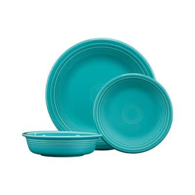 3-Piece Casual Turquoise Ceramic Dinnerware Set (Service for 1)