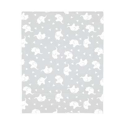 Super Soft Grey and White Elephant Polyester Fitted Crib Sheet