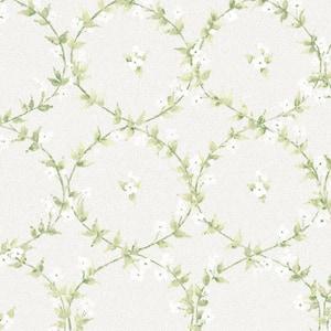 Floral Laurel Greens and Greys Vinyl Wallpaper (Covers 55 sq. ft.)