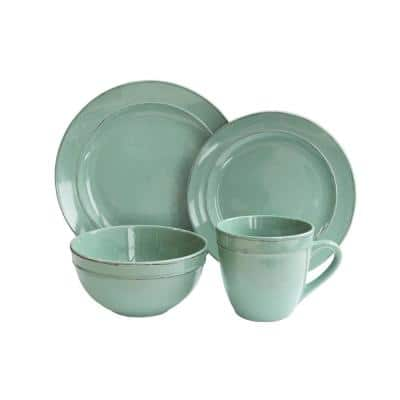 Olivia 16-Piece Casual Green Ceramic Dinnerware Set (Service for 4)