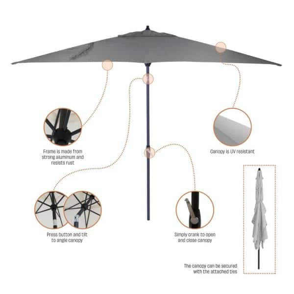 Hampton Bay 10 Ft X 6 Ft Aluminum Market Patio Umbrella In Caprice Tropical With Push Button Tilt 9106 01523900 The Home Depot