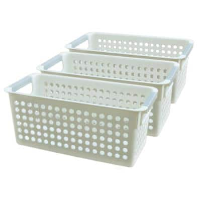 1.33 G White Rectangular Plastic Shelf Organizer Basket with Handles Set of 3