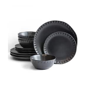 12-Piece Black Stoneware Dinnerware Set (Service for 4)