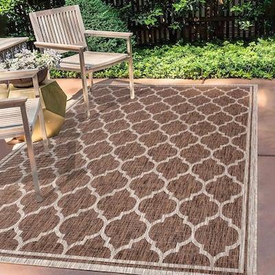 Trebol Moroccan Trellis Espresso/Taupe 7 ft. 9 in. x 10 ft. Textured Weave Indoor/Outdoor Area Rug