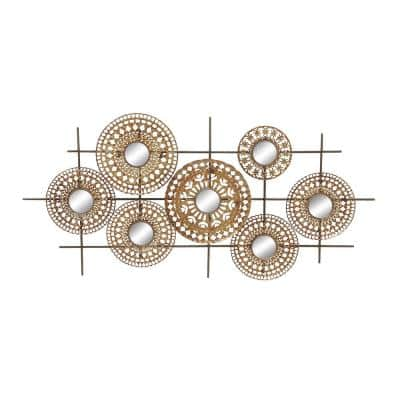 51 in. x 25 in. Modern Distressed Iron Medallions and Mirrors Wall Decor