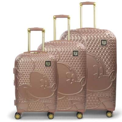 Disney Textured Mickey Mouse 3-Piece 29 in., 25 in. and 21 in. Rose Gold Hard-Sided Suitcases Luggage Set