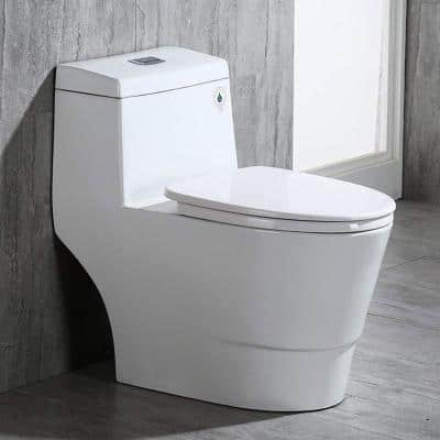 Bristol 1-Piece 1.0/1.6 GPF High Efficiency Elongated All-In One Toilet with Soft Closed Seat Included in White