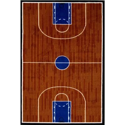 Fun Time Basketball Court Multi Colored 3 ft. x 5 ft. Area Rug