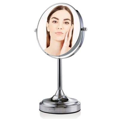 Small Round Tabletop Polished Chrome Makeup Mirror (13.3 in. H x 5.3 in. W), 1x-7x Magnification