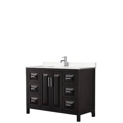 Daria 48in.x22in. Single Vanity in Dark Espresso with Cultured Marble Vanity Top in Light-Vein Carrara with White Basin