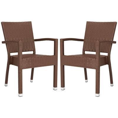 Kelda Brown Stackable Aluminum/Wicker Outdoor Dining Chair (2-Pack)