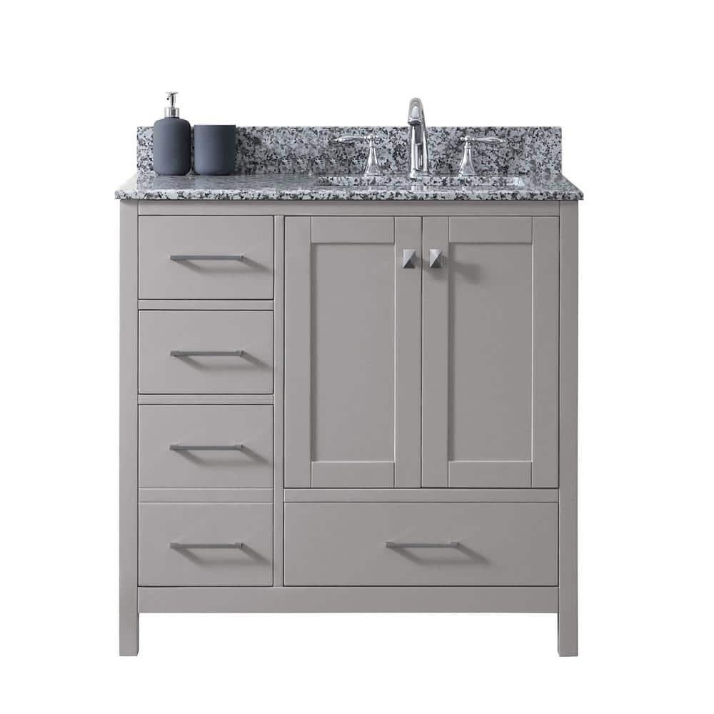 Virtu Usa Caroline Madison 36 In W Bath Vanity In C Gray With Granite Vanity Top In Arctic White Granite With Square Basin Gs 28036l Awsq Cg Nm The Home Depot