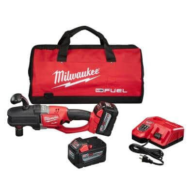 M18 FUEL 18-Volt Lithium-Ion Brushless Cordless 1/2 in. Hole Hawg Right Angle Drill Kit W/ QUIK-LOK,(2)9.0ah Batteries