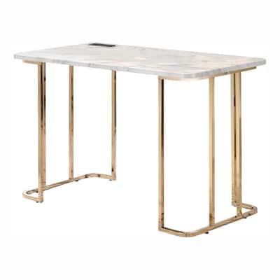 Hensley 47.25 in. Rectangular Gold Plating and White Writing Desk