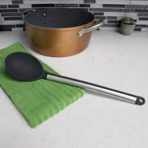 Stainless Steel Solid Silicone Black Spoon