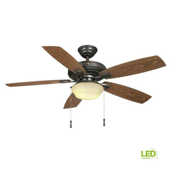 Hampton Bay Gazebo 52 In Led Indoor Outdoor Natural Iron Ceiling Fan With Light Kit Yg188 Ni The Home Depot