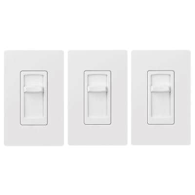 Skylark Contour LED+ Slide Dimmer Switch for Dimmable LED, INC/HAL Bulbs, Single-Pole, White (3-Pack)