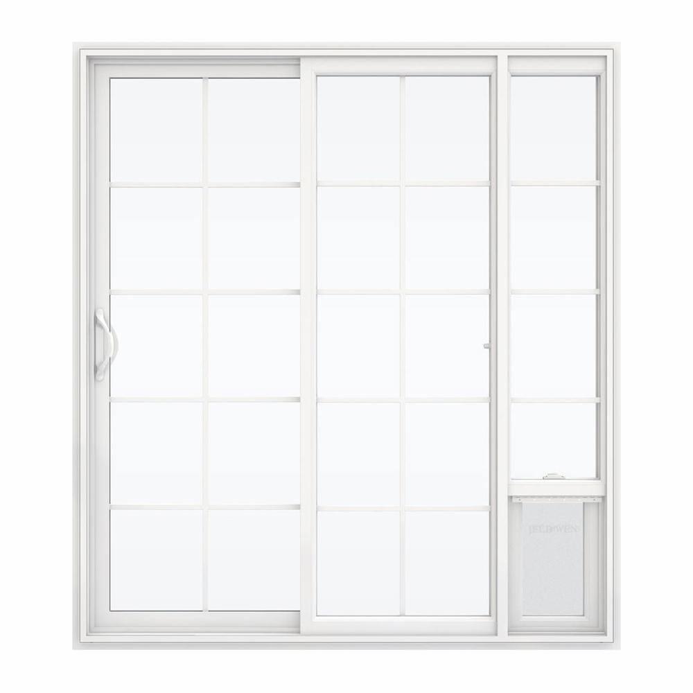 Jeld Wen 72 In X 80 In White Left Hand Vinyl Patio Door With Low E Argon Glass Grids And Large Pet Door Sierra Le Grd 6068 Lpdp Lh The Home Depot