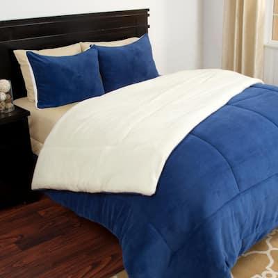 3-Piece Navy Queen Comforter Set