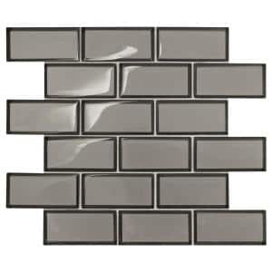 Premier Accents Smoke Gray Brick Joint 11 in. x 13 in. x 8 mm Glass Mosaic Wall Tile (0.956 sq. ft./Each)