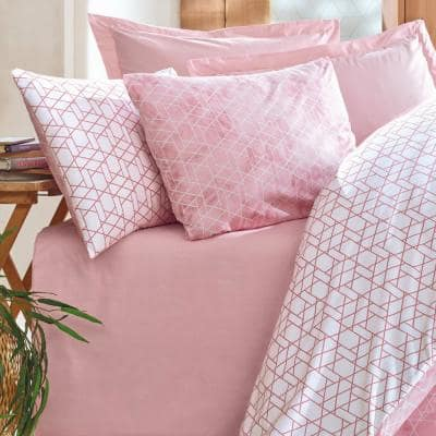Peach Girl Duvet Cover Set : Pink, Queen Size Duvet Cover, 1 Duvet Cover, 1 Fitted Sheet and 2 Pillowcases, Iron Safe