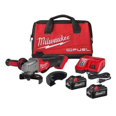 M18 FUEL 18-Volt Lithium-Ion Brushless Cordless 4-1/2 in./5 in. Grinder, Slide Switch Kit with Two 6.0 Ah Batteries