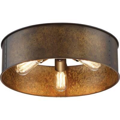 3-Light Weathered Brass Flush Mount
