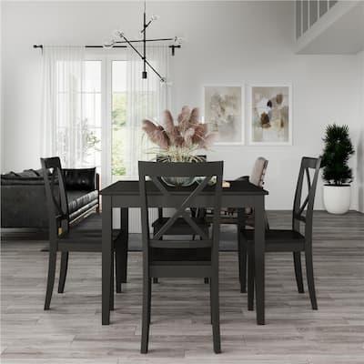Cypress 5-Piece Black Rustic Wood Dining Set