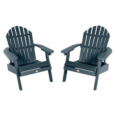 Hamilton Federal Blue Folding and Reclining Plastic Adirondack Chair (2-Pack)
