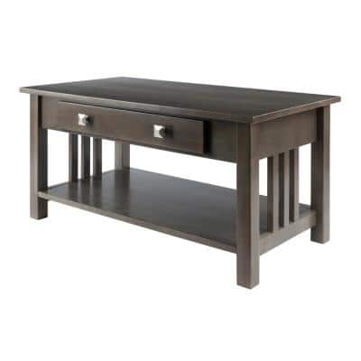Stafford Oyster Gray Finish Rectangular Coffee Table