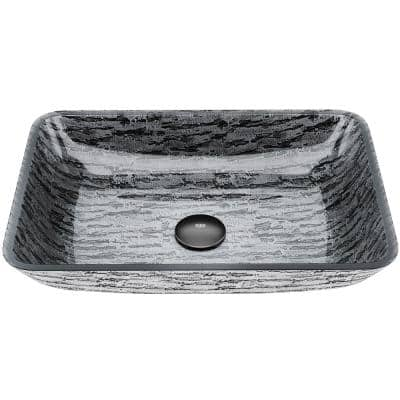 Glass Rectangular Vessel Bathroom Sink in Titanium Gray