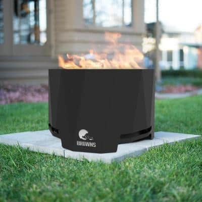 The Peak NFL 24 in. x 16 in. Round Steel Wood Patio Fire Pit -Cleveland Browns