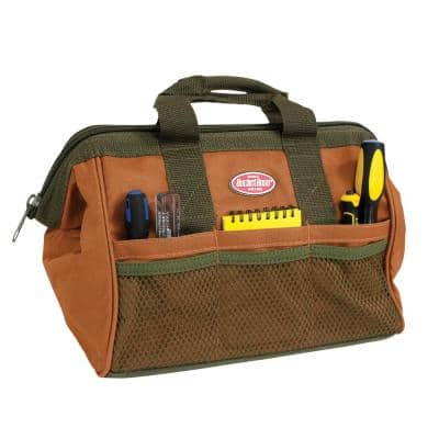 13 in. Gatemouth Tool Bag with Zippered Top and 7 Total Pockets