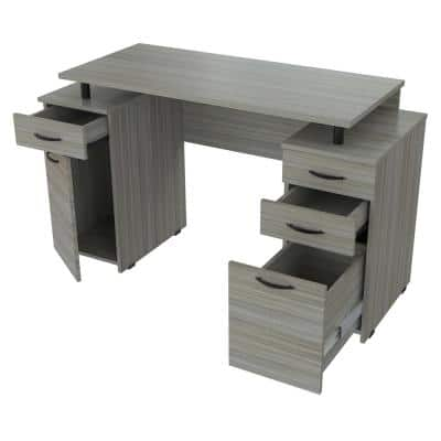 50.79 in. Smoke Oak Rectangular 4 -Drawer Computer Desk with File Storage