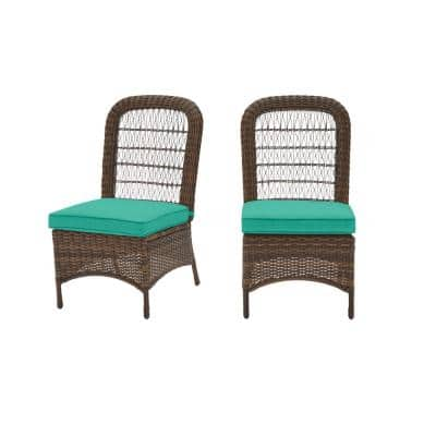 Beacon Park Brown Wicker Outdoor Patio Armless Dining Chair with CushionGuard Seaglass Turquoise Cushions (2-Pack)
