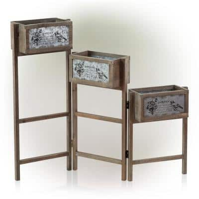 3-Tier Wooden Plant Stand with Metal Plate