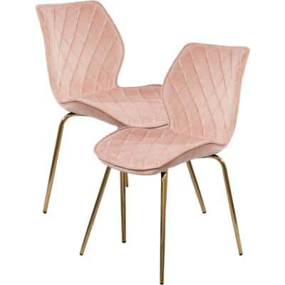 Salmon Pink Tufted Velvet Armless Side Chairs with Contoured Backrests and Gold Metal Legs, Set of 2