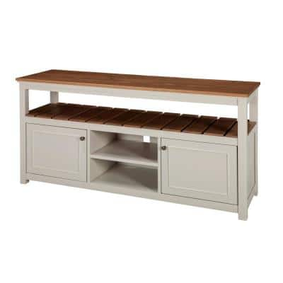 Savannah 58 in. Ivory Wood TV Stand Fits TVs Up to 64 in. with Storage Doors
