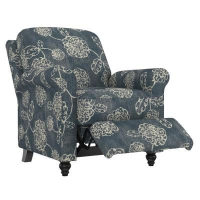 Woven Caribbean Blue and Creamy White Floral Fabric Push Back Recliner Chair