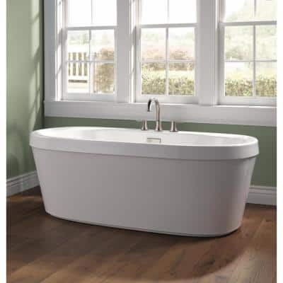 Synergy 60 in. Acrylic Flatbottom Bathtub with Integrated Waste and Overflow in High Gloss White
