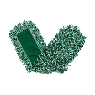 36 in. Green Microfiber Loop Dust Mop Head