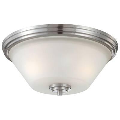 Pittman 2-Light Brushed Nickel Ceiling Flush Mount