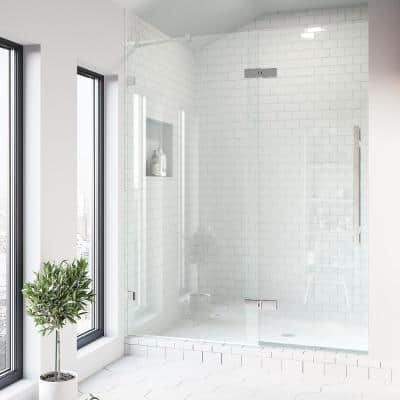 Rochelle 47-1/4 to 48-3/4 in. x 74 in. Frameless Hinged Shower Door in Chrome with Clear Glass and Handle