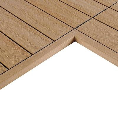1/6 ft. x 1 ft. Quick Deck Composite Deck Tile Inside Corner Trim in Canadian Maple (2-Pieces/Box)